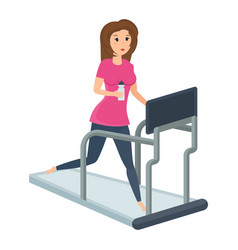 girl engaged fitness on treadmill putting order vector image vector image