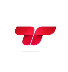 letter t or double r logo concept red vector image vector image