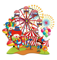 many clowns in the circus vector image vector image