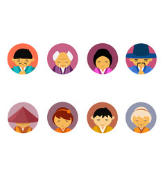 portraits of asian people set of men and women in vector image