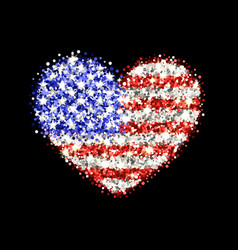 usa flag sparkling heart badge vector image