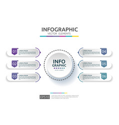 6 steps infographic timeline design template with vector image