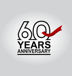60 years anniversary logotype with black outline vector