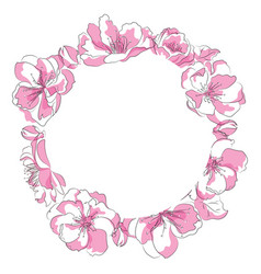 a circle sakura flowers a vector image