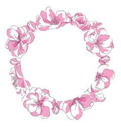 a circle sakura flowers vector image
