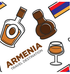 Armenia travel destination alcohol drinks vector
