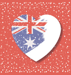 Australian flag on heart in opacity graphic in red vector