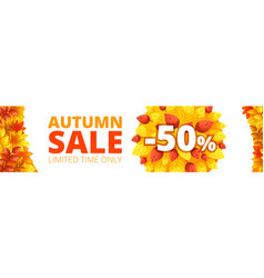 autumn sale banner horizontal cartoon style vector image