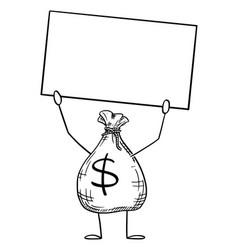 bag money or dollars cartoon character holding vector image