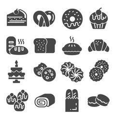 bakery icon set - gray icon collection vector image