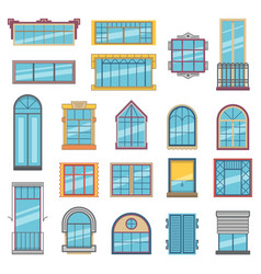 Balcony and wooden or plastic windows with glass vector