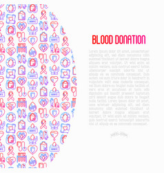 blood donation mutual aid concept with line icons vector image