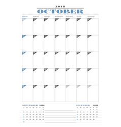 Calendar planner template for 2018 year occtober vector