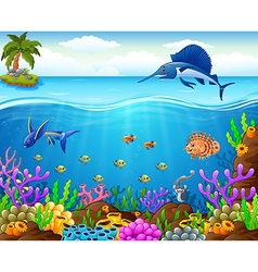 Cartoon fish under the sea vector