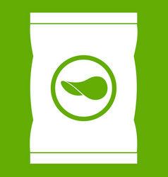 chips plastic bag icon green vector image