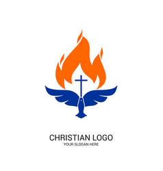 Christian church logo bible symbols vector