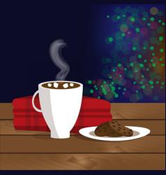 christmas of mug with hot cocoa vector image
