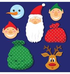 Christmas set with Santa Clausdeerelvessnowman and vector image