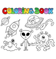 coloring book with aliens vector image