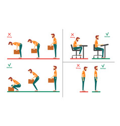 correct incorrect head sitting at desk vector image
