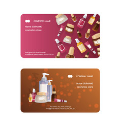 Cosmetic product business card skincare vector
