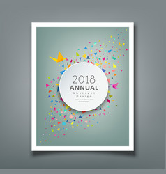 Cover annual report colorful paper triangle vector