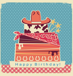 cowboy happy birthday party card background vector image