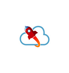 creative cloud rocket logo vector image