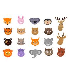 cute animal avatars animals heads exotic wild vector image