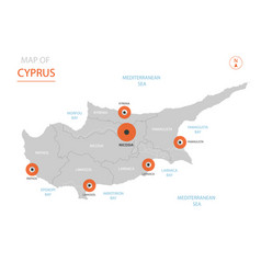cyprus map with administrative divisions vector image