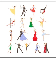 Dance festival different dance styles flat icon vector image