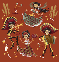 day dead mexican skeleton party set vector image