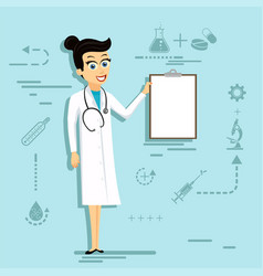 doctor woman in lab coat holding blank clipboard vector image