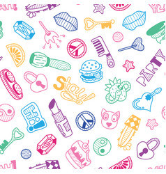 doodle girly party seamless pattern texture or vector image
