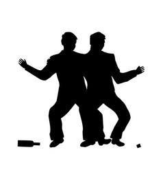 drunk people drunk party two men drinking vector image