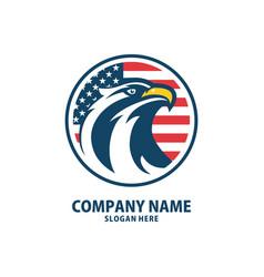eagle head circle american flag logo designs vector image