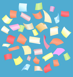 falling paper sheets with curved corners vector image