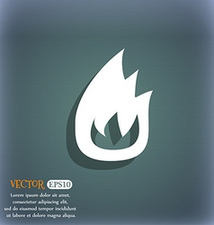 Fire flame icon symbol on the blue-green abstract vector