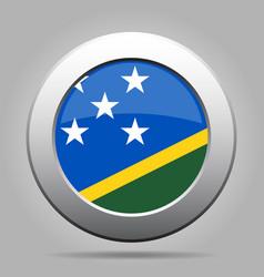 Flag of solomon islands metal gray round button vector