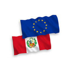 Flags european union and peru on a white vector