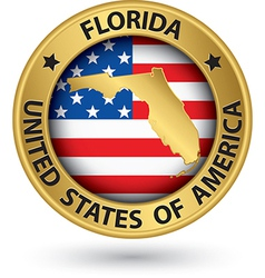 Florida state gold label with state map vector