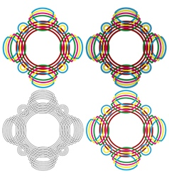 Four circular forms same as a wicker pattern vector