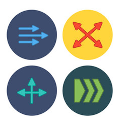 Four flat modern arrows vector