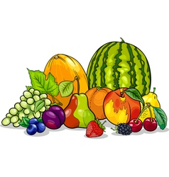 Fruits group cartoon vector
