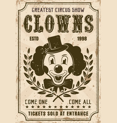 funny clown retro poster for circus show vector image