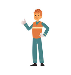 Garbage man in orange and blue workwear sorts and vector