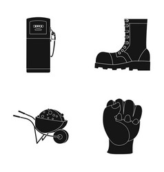 Gas station boot and other web icon in black vector