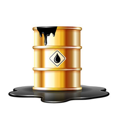 Gold barrel with oil drop label on spilled puddle vector