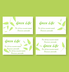 green tea business card template set vector image