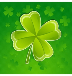 Greeting card with leaf of clover vector image